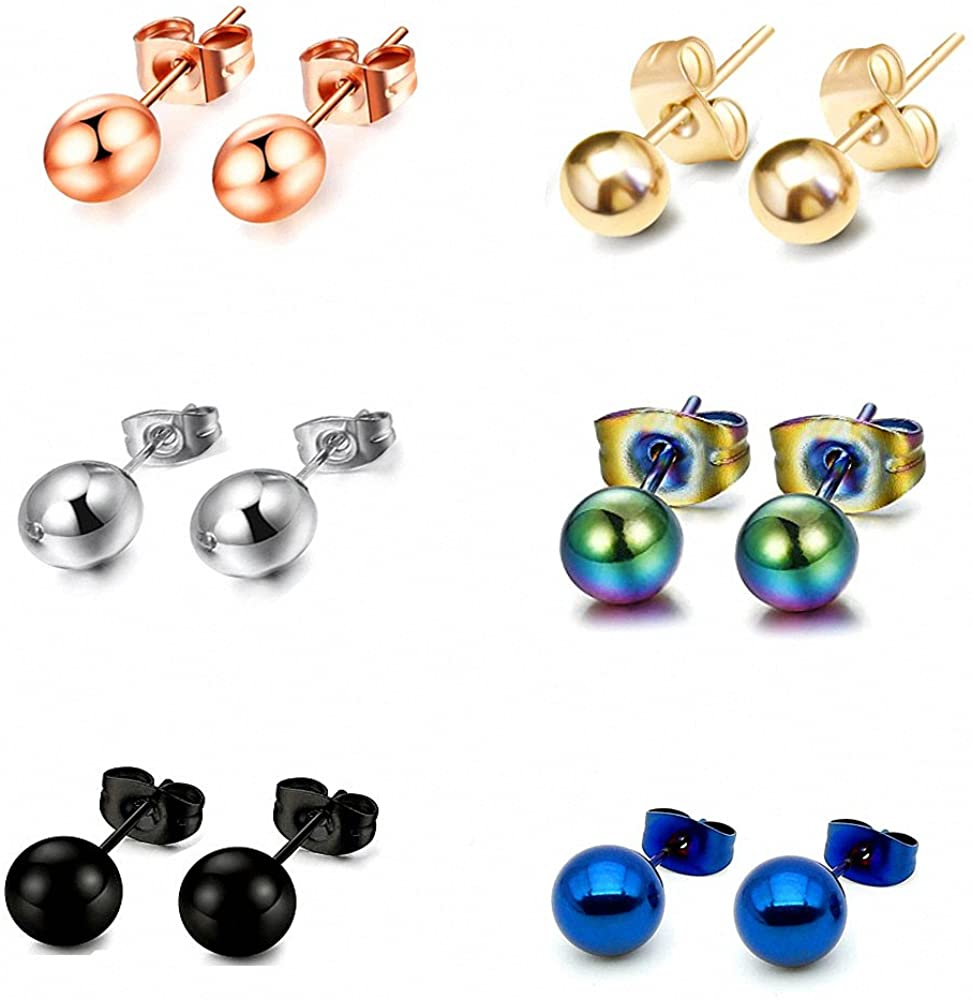 6 Pairs 2-8mm Men Women Stainless Steel Round Ball Stud Earring 6 Colors