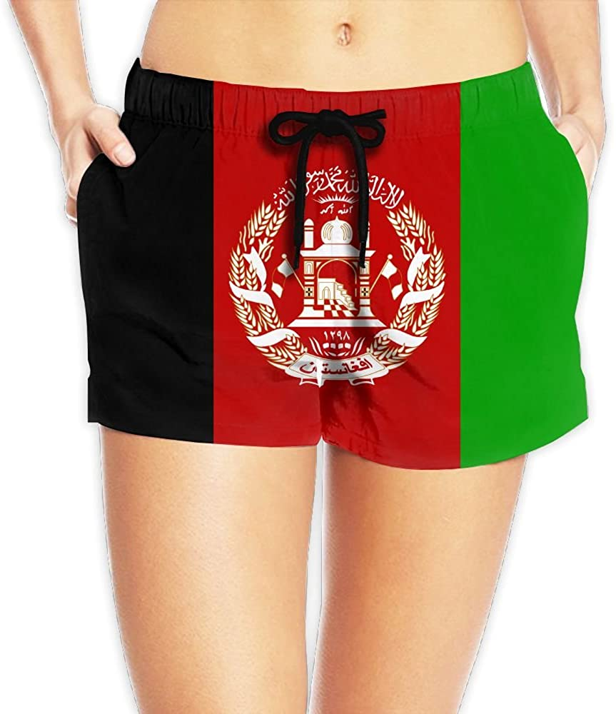 Yongchuang Feng Afghan Flag Women's Funny Hot Pants Summer Casual Beach Shorts Quick Dry Swim Trunks