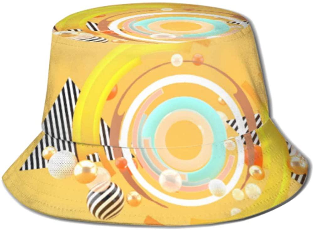 Sun Cap Swirling Colors Among Colorful Balls On Bucket Sun Hat for Men & Women Protection Packable Summer Fisherman Cap for Fishing, Safari, Beach &