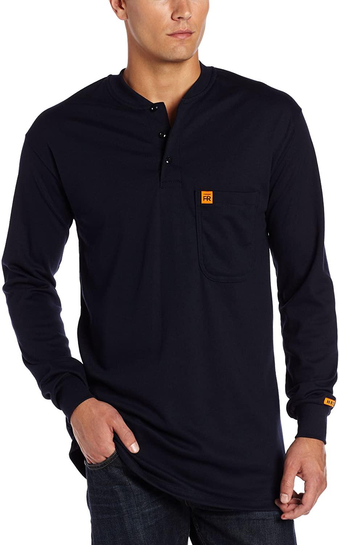 Wrangler Riggs Workwear Men's Fr Flame Resistant Long Sleeve Henley