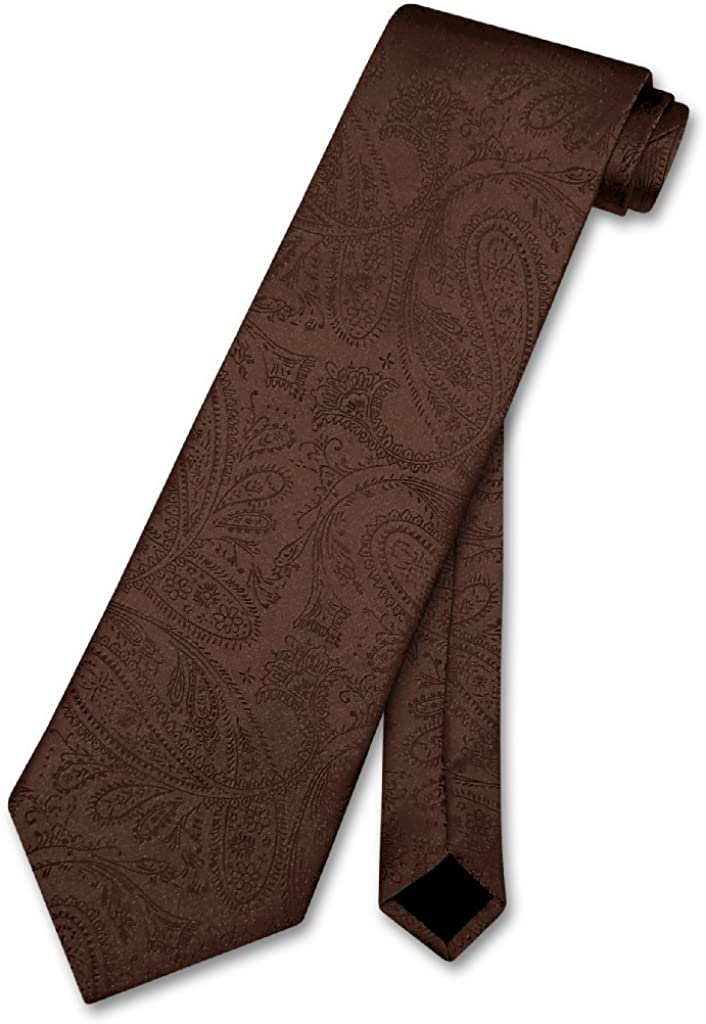 Vesuvio Napoli NeckTie CHOCOLATE BROWN Color Paisley Design Men's Neck Tie