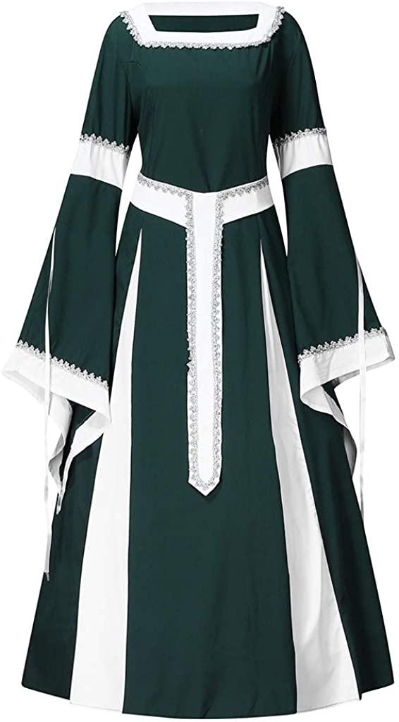Aoukey Women's Long Sleeve Dress Retro Gothic Square Collar Vintage Renaissance Punk Victoria Performance Female Dress