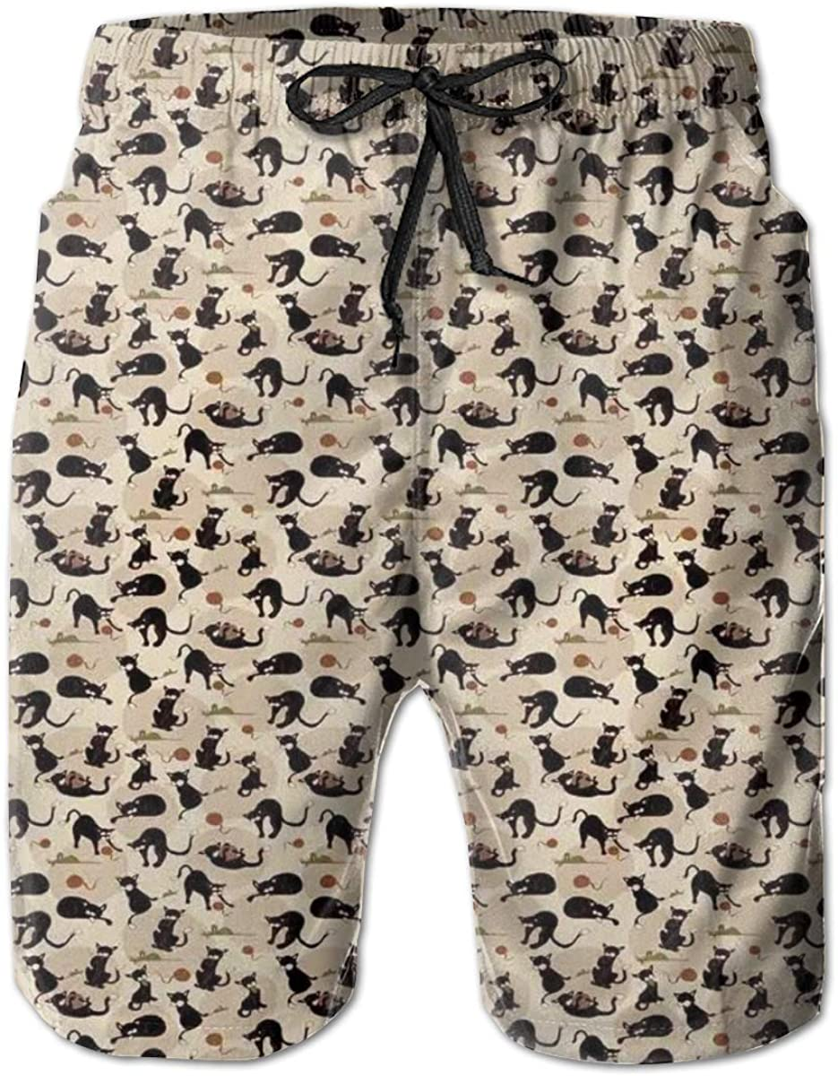 Men's Swim Trunks Quick Dry Beach Shorts Hand Drawn Feline Pattern House Pet Playing with Mouse and A Ball of Yarn M