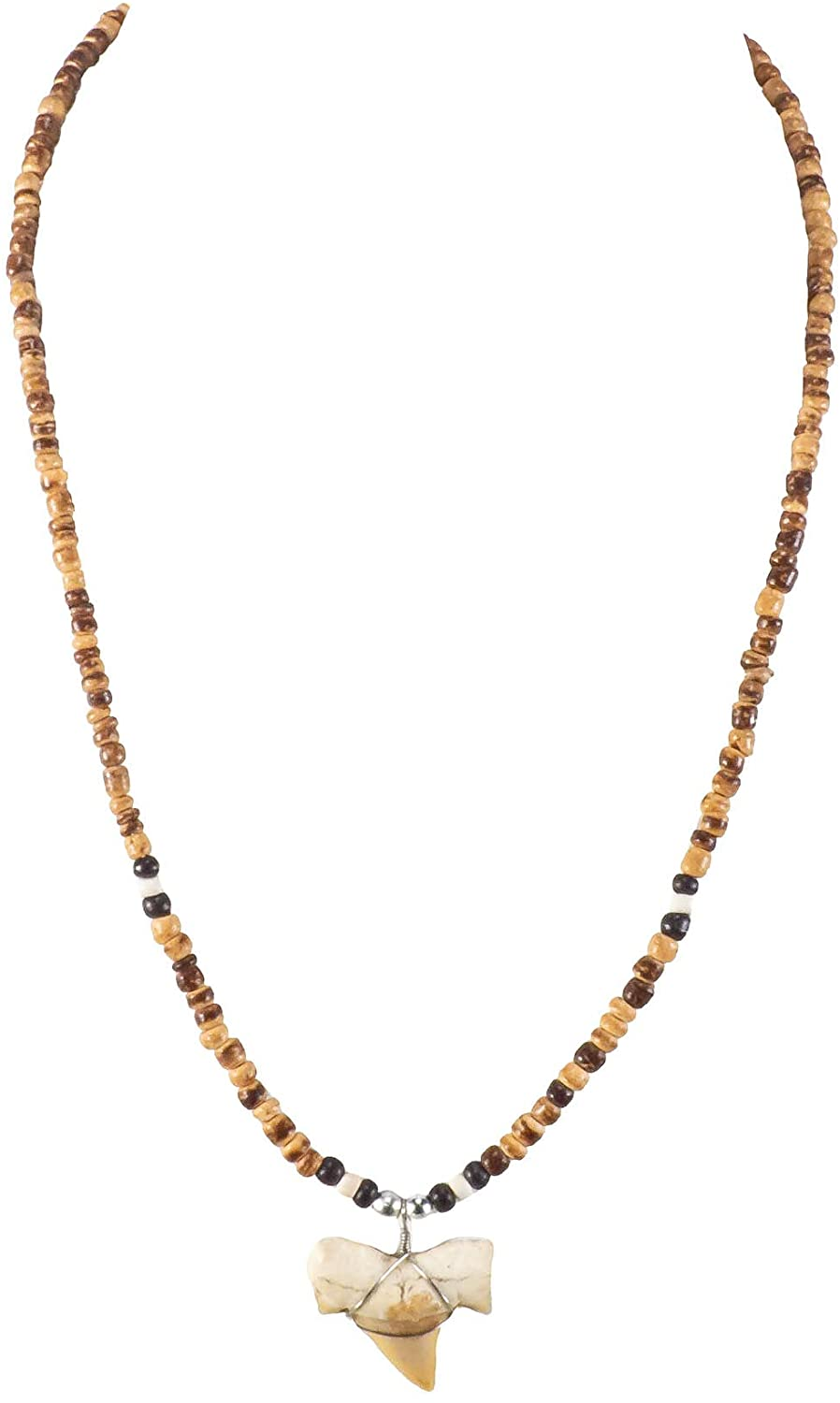 BlueRica Shark Tooth Pendant on Tiger Coconut Beads Necklace (1S)