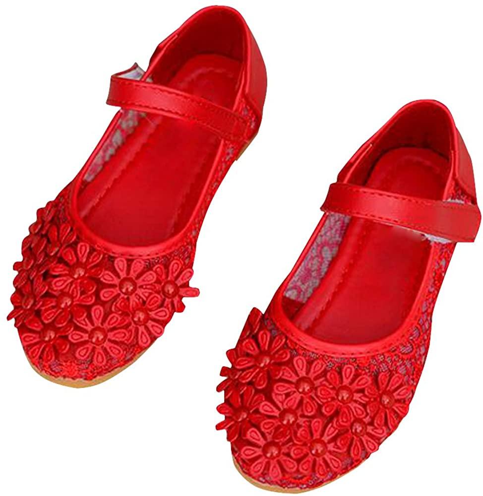 BININBOX Girls Flower Flat Girls Dress Shoes Princess Mary Jane Shoes