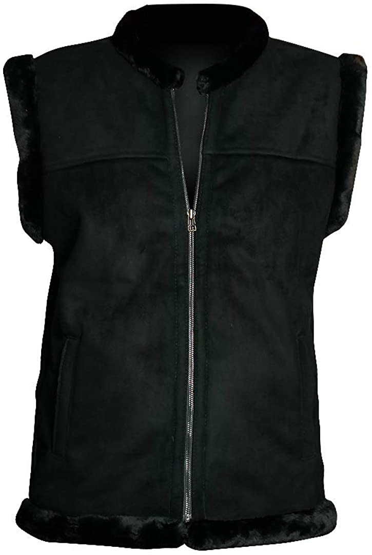 New Men's All Season Black Suede Leather Stylish Inner Shearling Fur Leather Vest Jacket