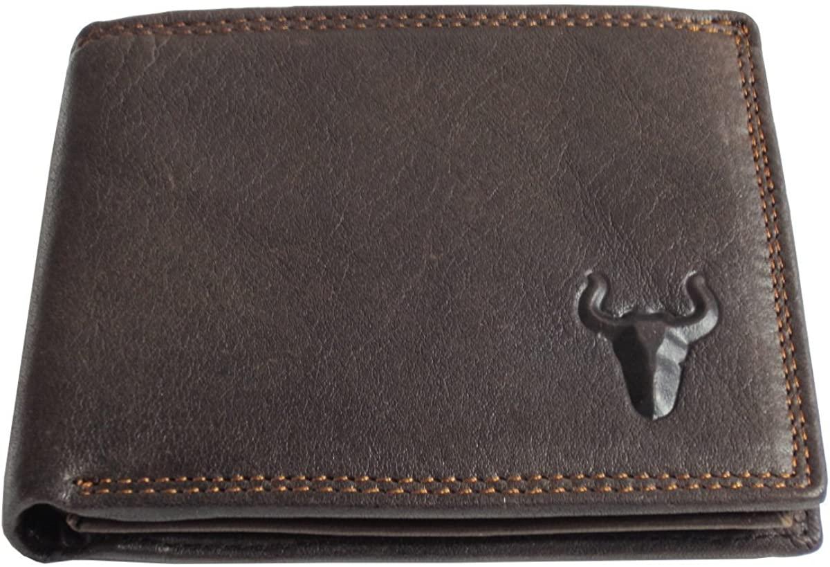BAELY Men's Genuine Leather Short Wallet Cowhide Vintage Wallet Card Holder