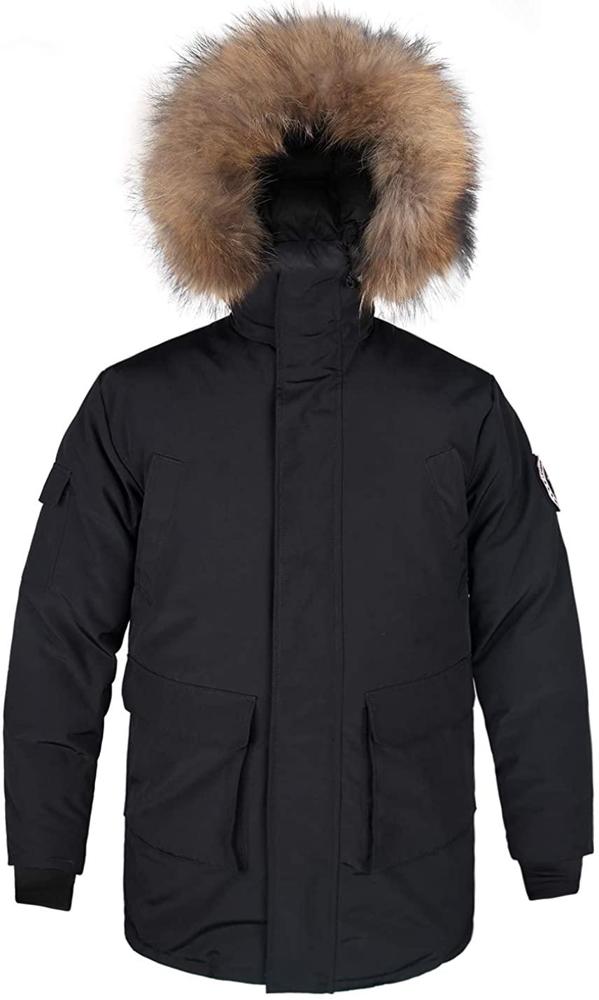 Men's Goose Down Jacket Parka Waterproof Winter Warm Outdoor Hooded Ski Jacket with Real Fur Hood