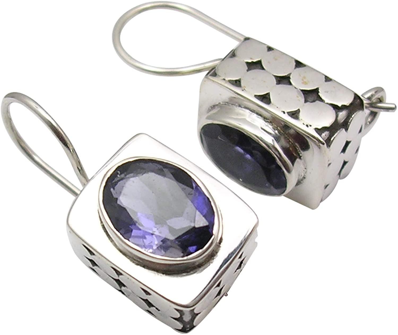 SilverStarJewel Natural 6 x 8 mm Facetted Iolite Earrings 0.8