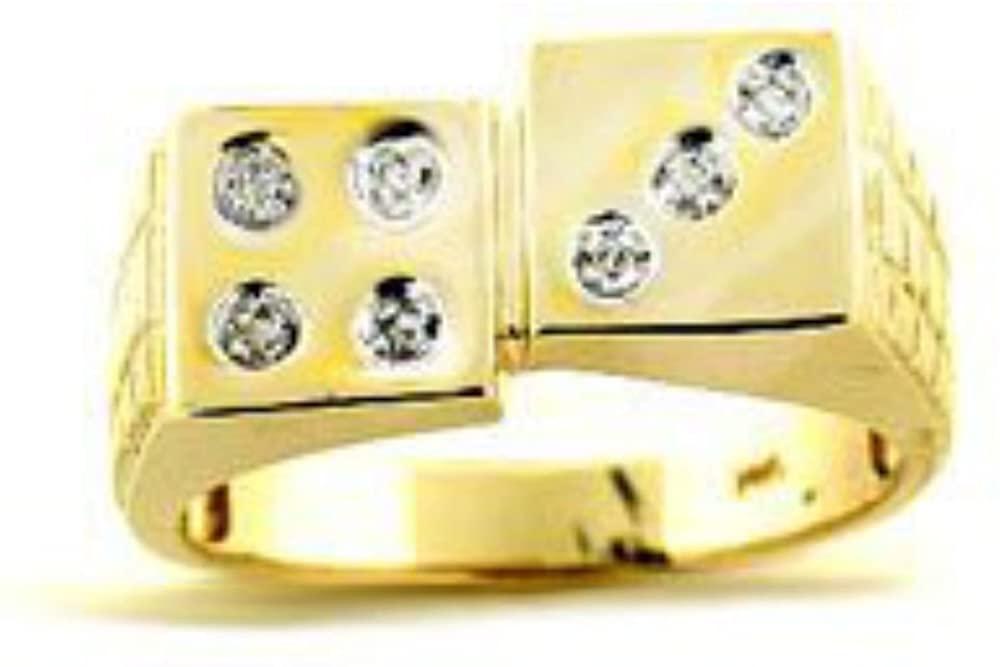 Diamond Ring 14K Yellow or 14K White Gold Lucky 7 Dice Ring Craps
