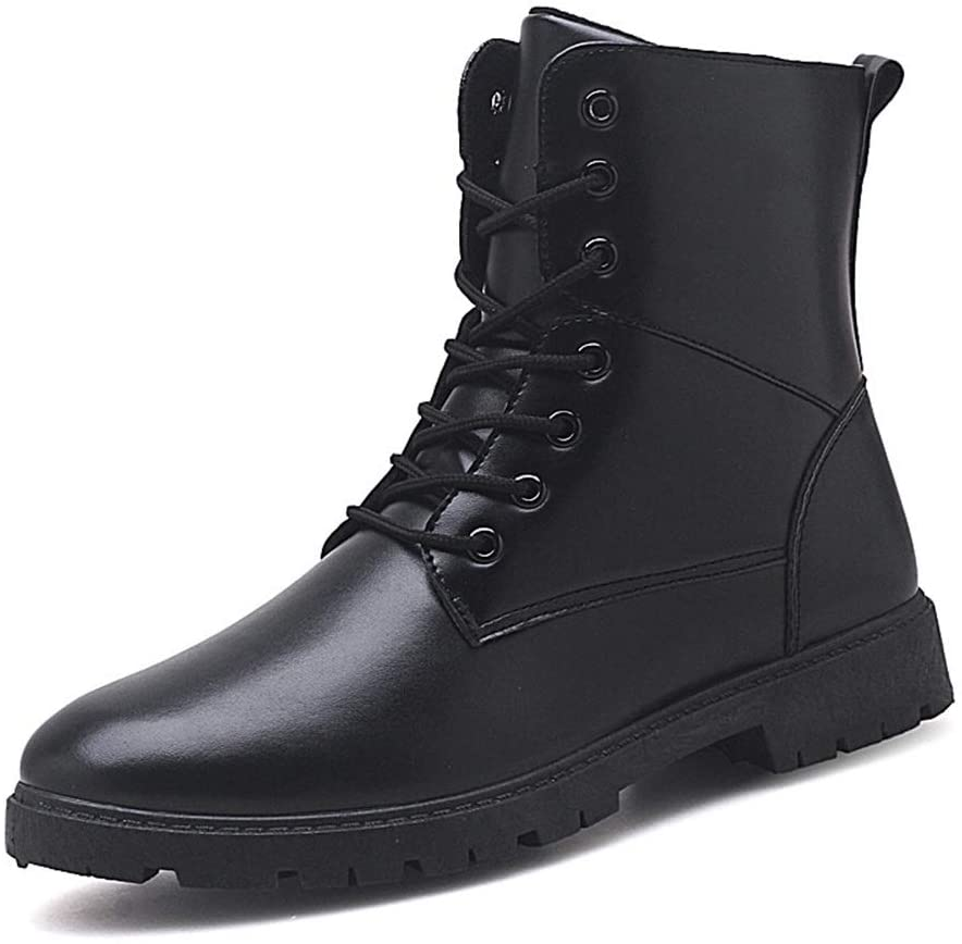 Zhukeke Men's High-Top Ankle Combat Boots for Men Lace-up Oxford Boot Snow Shoes Synthetic Leather Antislip Outsole Block Heel Fashion Wear-Resistant (Color : Black, Size : 8 M US)