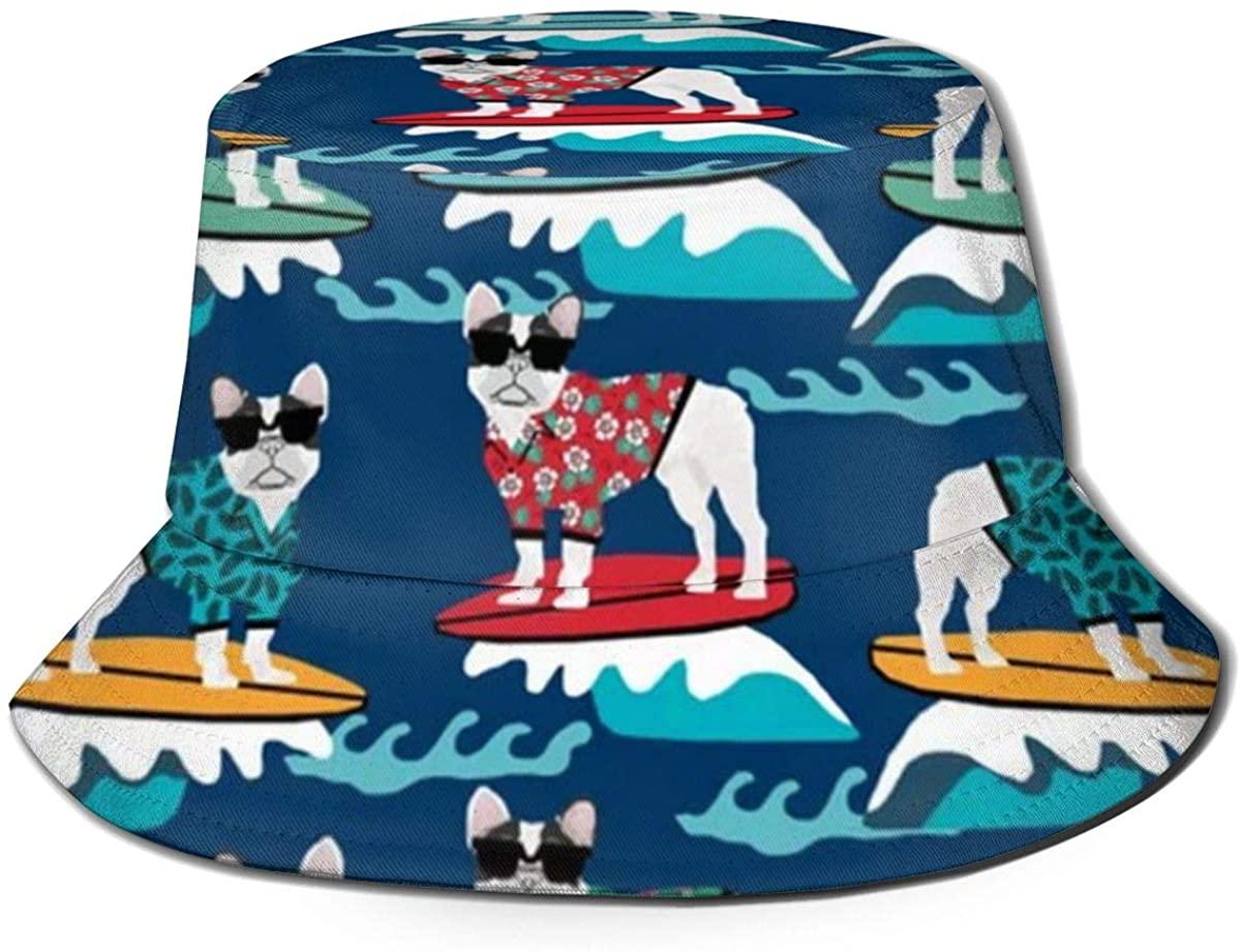 French Bulldog Surfing Unisex Outdoor Sun Fisherman Bucket Caps Beach Hats