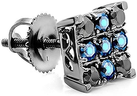 Fingalo 10K White Gold Round Black Diamond & Blue Sapphire Men's Square Shaped Stud Earrings