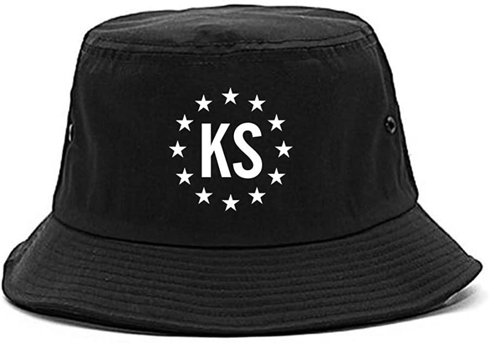 KS Kansas Stars Circle American Flag Style Bucket Hat