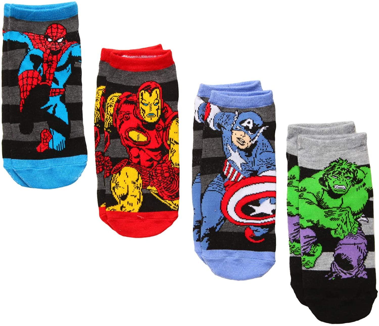Marvel Spider-man/Iron Man/Captain America/Incredible Hulk 4-pack Low Cut Socks