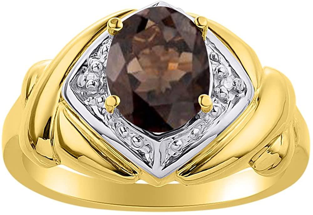 Diamond & Smoky Quartz Ring Set In Yellow Gold Plated Silver - XO Hugs & Kisses - Color Stone Birthstone Ring