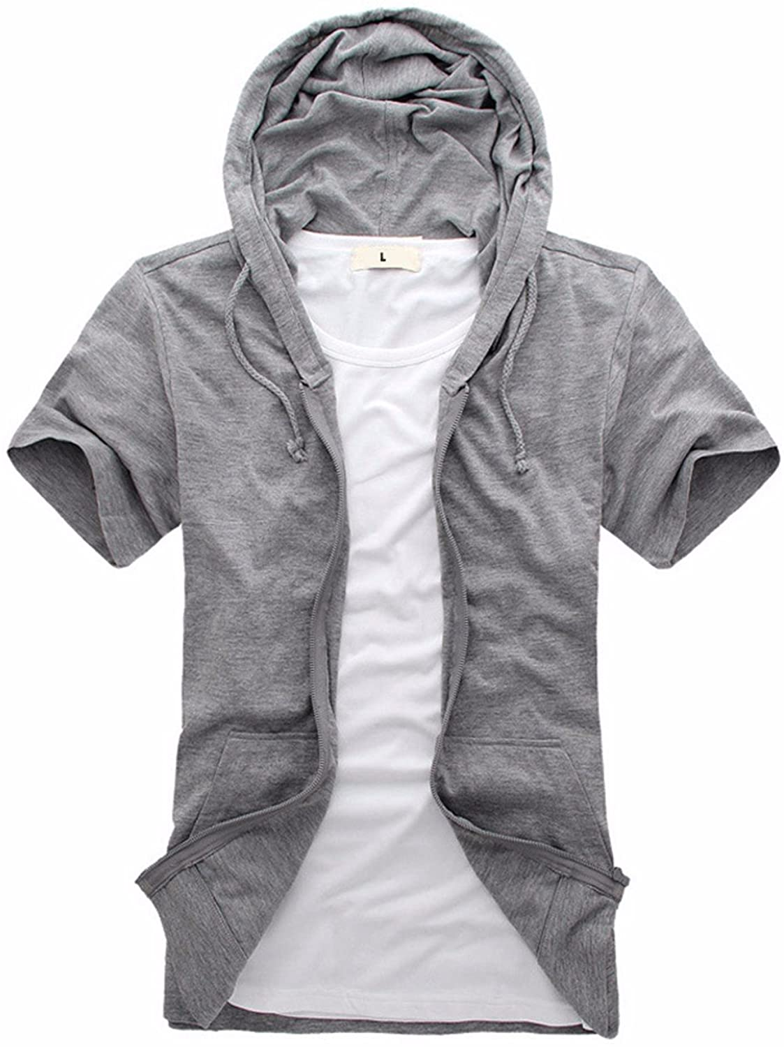 OLQMY Casual cardigan, shuffle, short sleeved sweater, cotton, young students, zipper, color sweater (not including T-shirts),gray,XXL