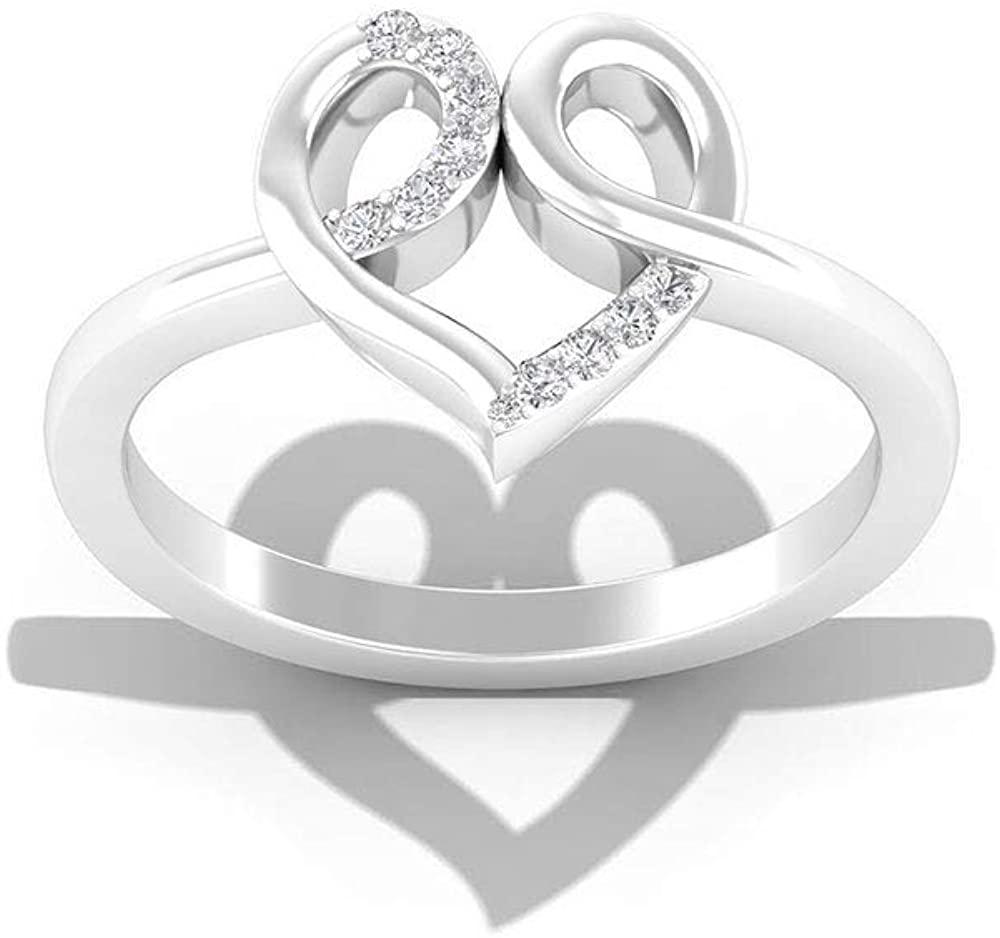 Unique IGI Certified Diamond Heart Anniversary Ring, Minimal Love Bridal Wedding IJ-SI Diamond Ring, Daily Wear Mother Birthday Promise Ring Gift Idea, 14K White Gold, Size:US 6.0