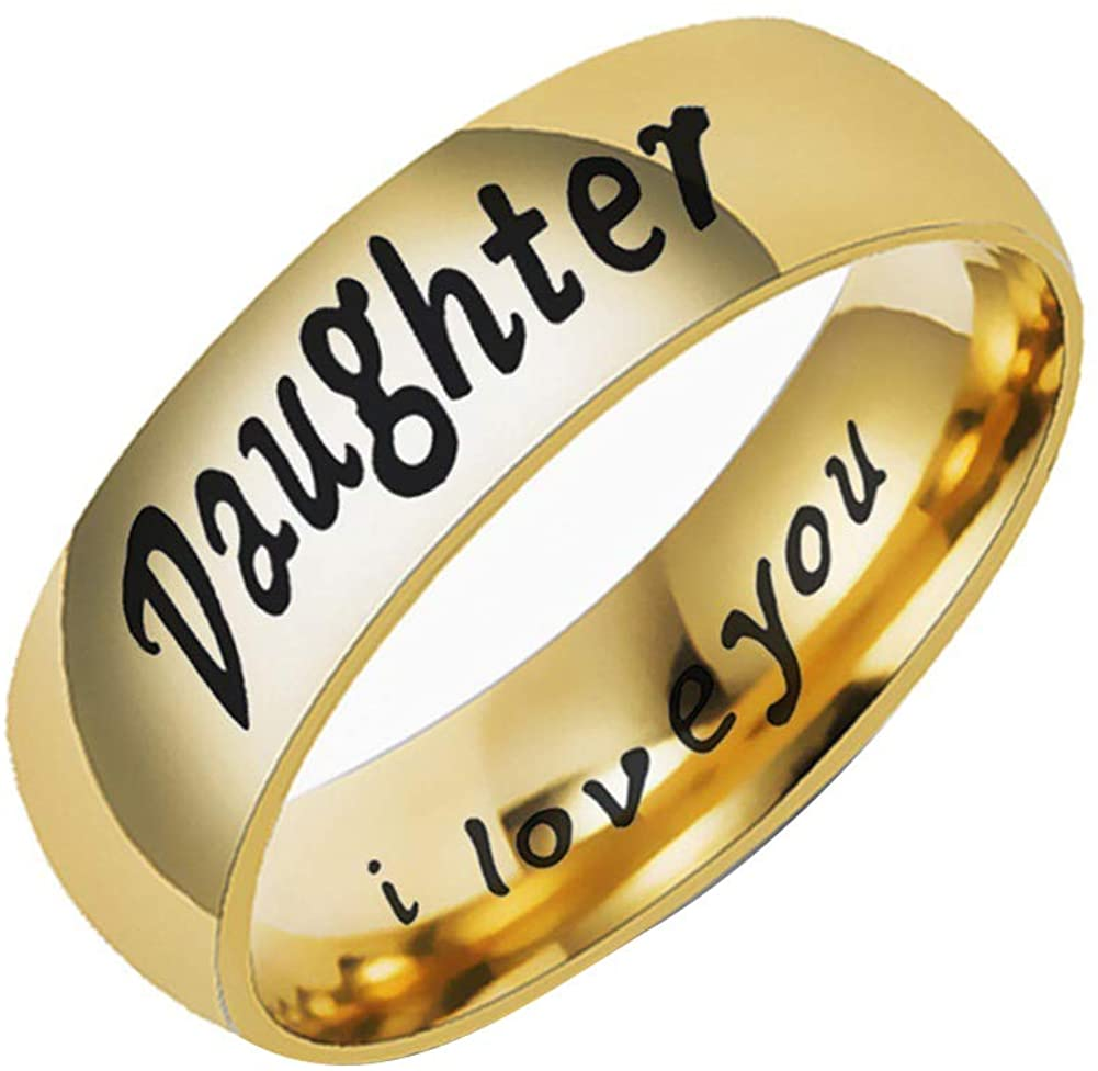 helegeSONG Rings Jewelry, Fashion Mom Dad Daughter Son Letters Band Stainless Steel Family Member Ring - Daughter Golden US 6