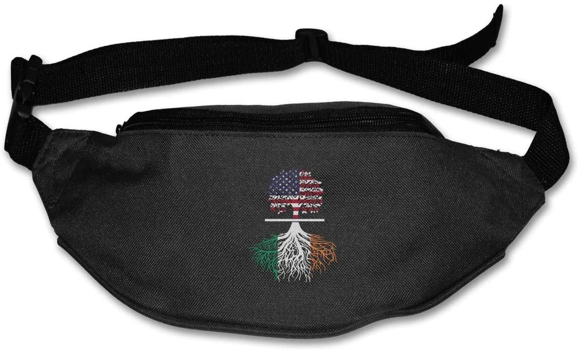 SWEET-YZ Unisex Waist Pack American Irish Tree Flat Fanny Bag Pack for Sport Running