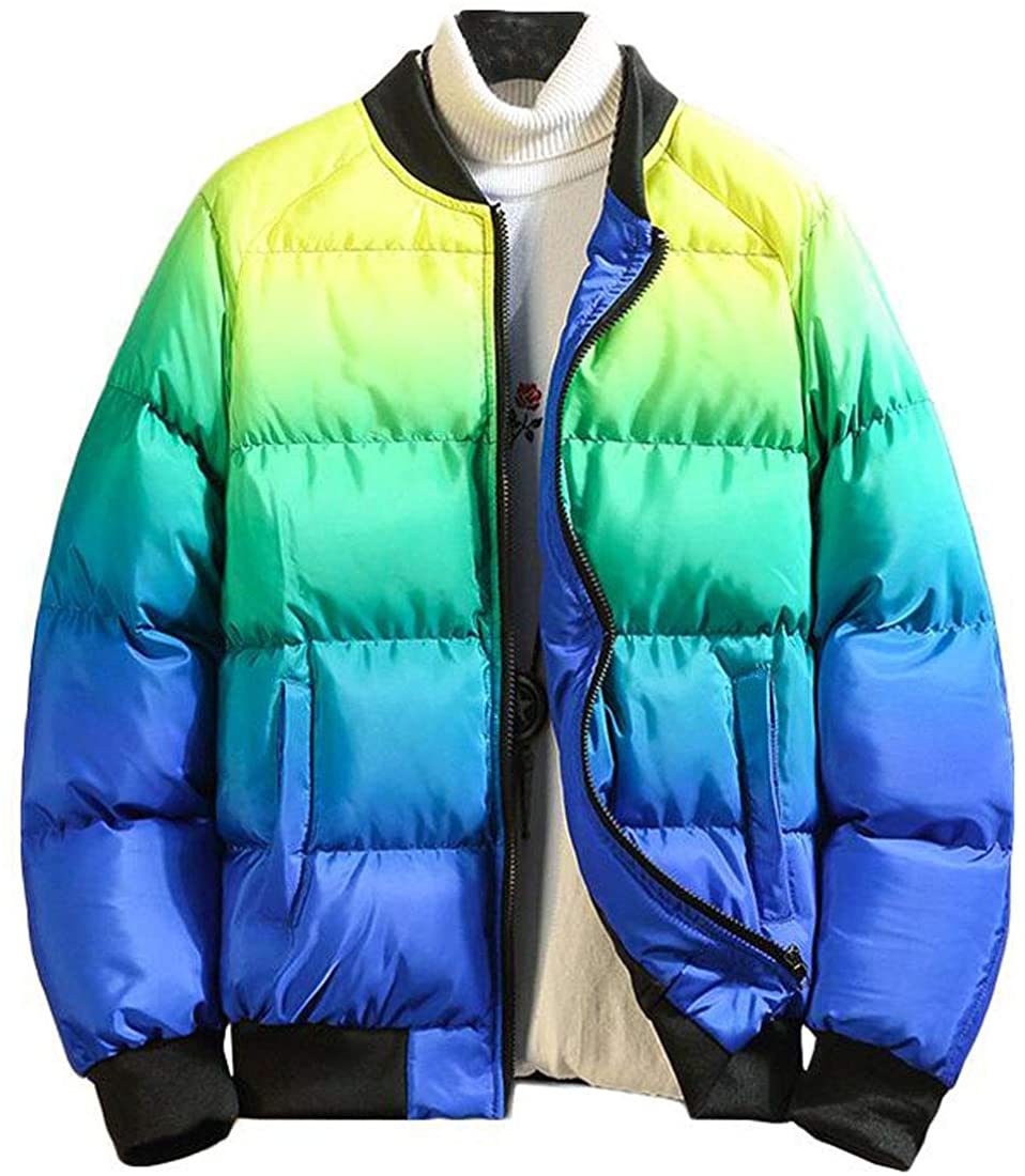HZCX FASHION Men's Winter Puffer Jackets Gradien Color Padded Bomber Jackets