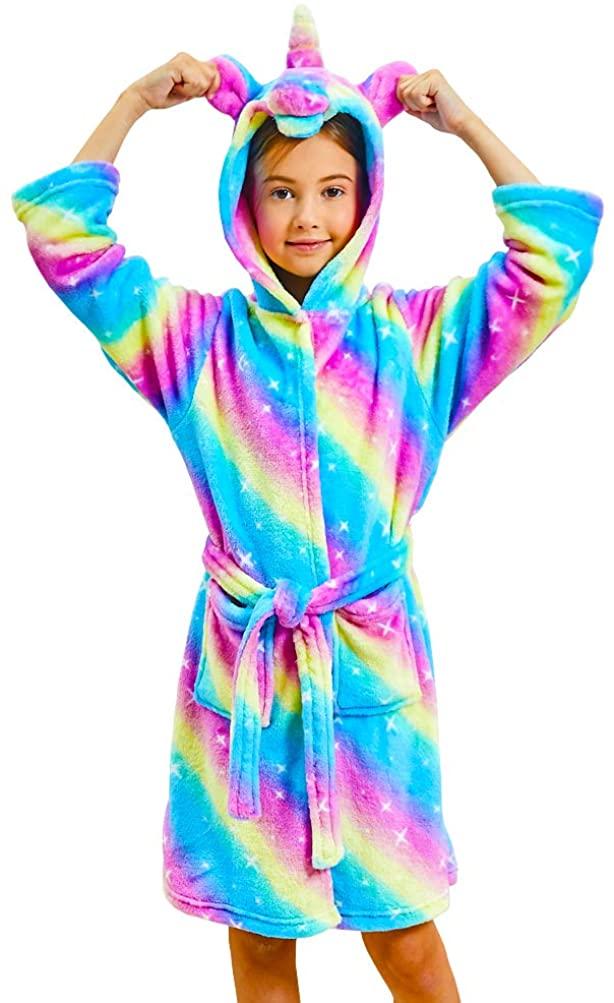 Boys Girls Bathrobes,Toddler Kids Hooded Robes Soft Children's Coral Fleece Bathrobes Hooded Pajamas Sleepwear for Girls Boys
