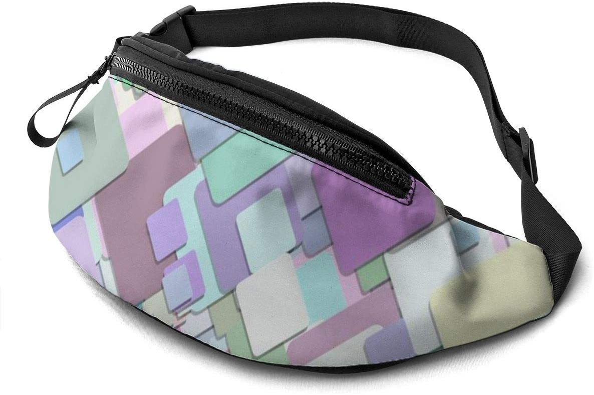 Multicolor Squares Pattern Fanny Pack For Men Women Waist Pack Bag With Headphone Jack And Zipper Pockets Adjustable Straps