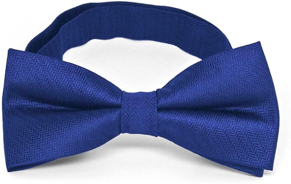 TieMart Sapphire Blue Herringbone Silk Bow Tie