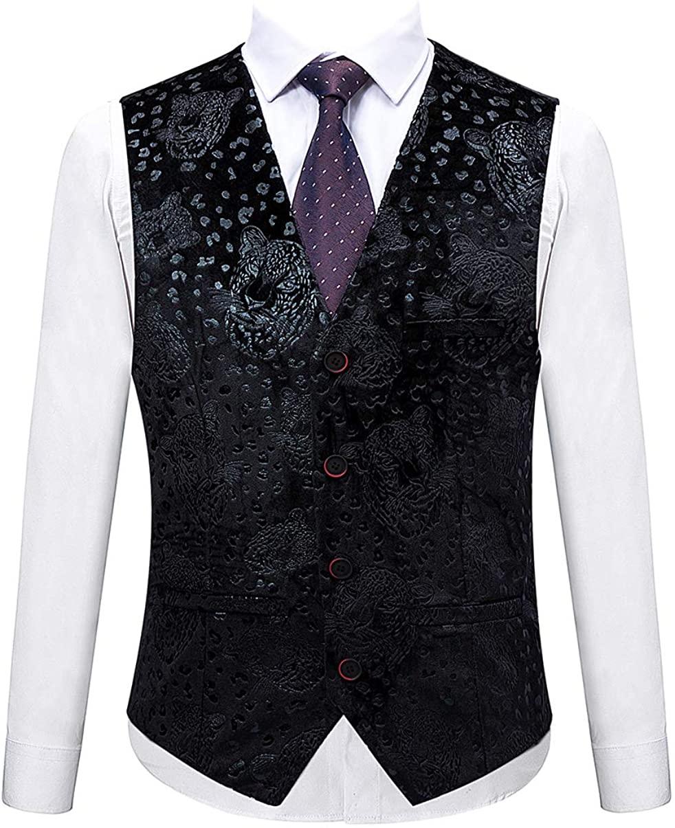 MOGU Mens Slim Fit Tuxedo Vest Black Color