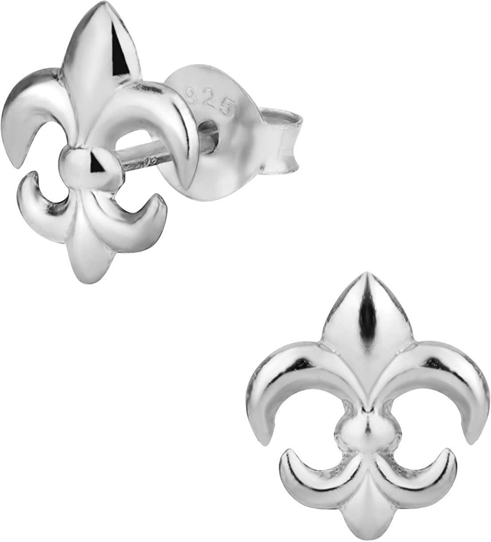 Hypoallergenic Sterling Silver Fleur de Lis Stud Earrings for Kids (Nickel Free)