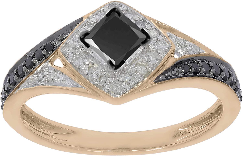 Prism Jewel 0.62Ct Princess Black With Round Black & White Diamond Engagement Ring, 10k Gold