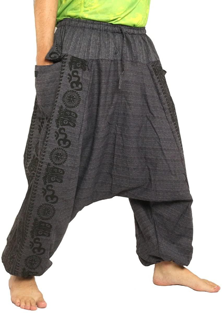 jing shop Harem Baggy Pants Boho Hippie Cultural Pattern Print Cotton