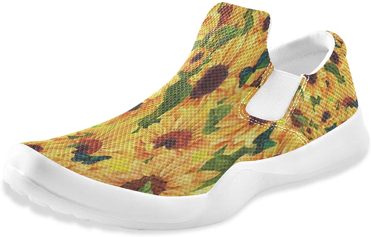 Vintage Sunflower Butterfly Floral Mens Casual Non Slip Walking Shoes Comfort Athletic Slip On Loafers Boys
