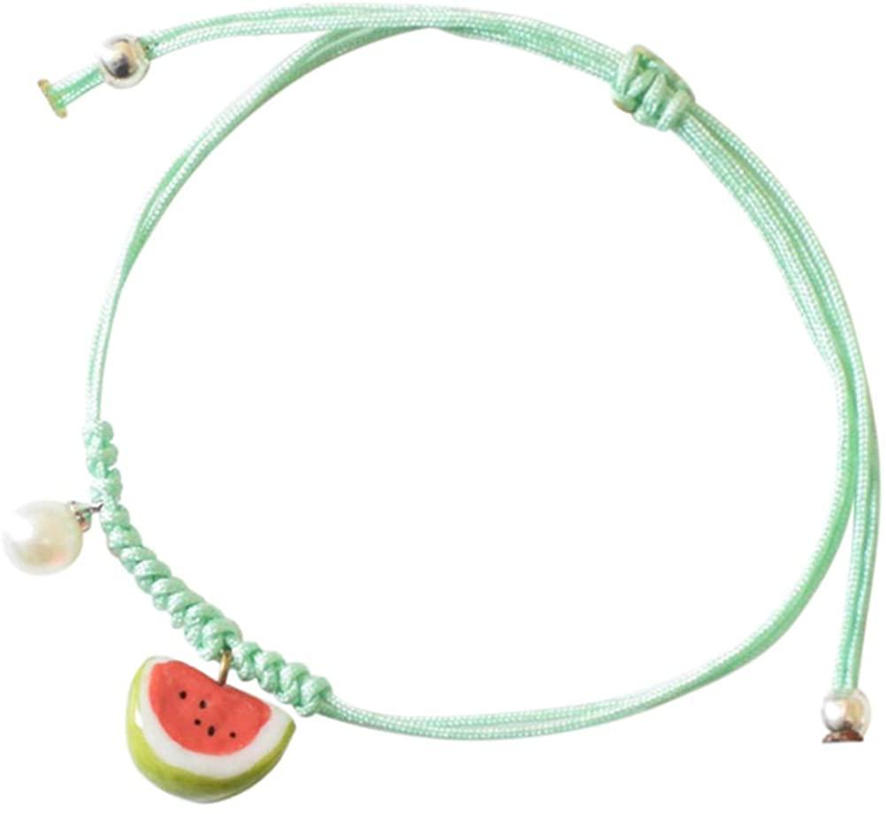 Cren Handmade Fashion Charm Adjustable Ceramic Watermelon Bracelet