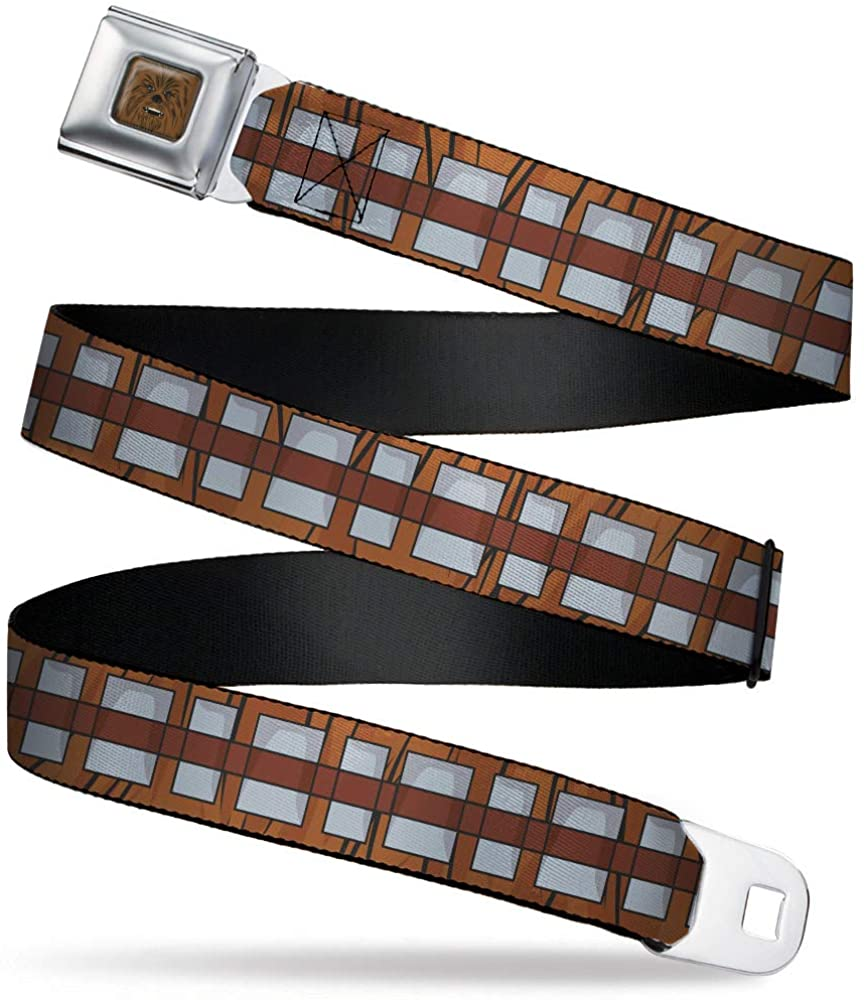 Belt Seatbelt Buckle Star Wars Chewbacca Bandolier Bounding Browns Gray 32 to 52 Inches