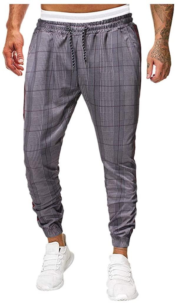 Men's Jogger Pants Long Slim Fit Sport Casual Plaid Trousers Running Sweatpants Casual Streetwear