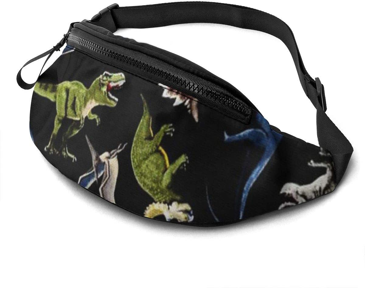 Dinosaur Fanny Pack For Men Women Waist Pack Bag With Headphone Jack And Zipper Pockets Adjustable Straps