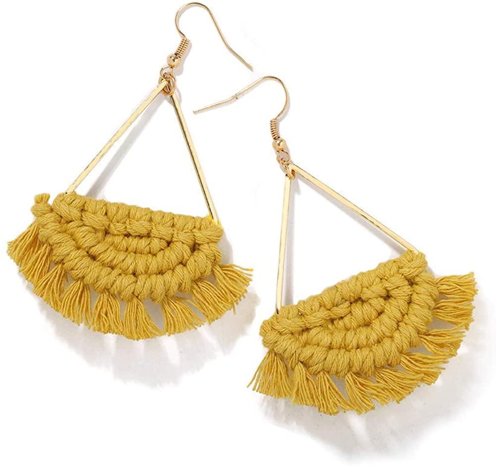 Bohemian Handmade Tassel Dangle Drop Statement Earrings Vintage Fan-shaped Fringe Silky Tiered Thread Vacation Seaside Earrings for Women Girls Fashion Special Jewelry