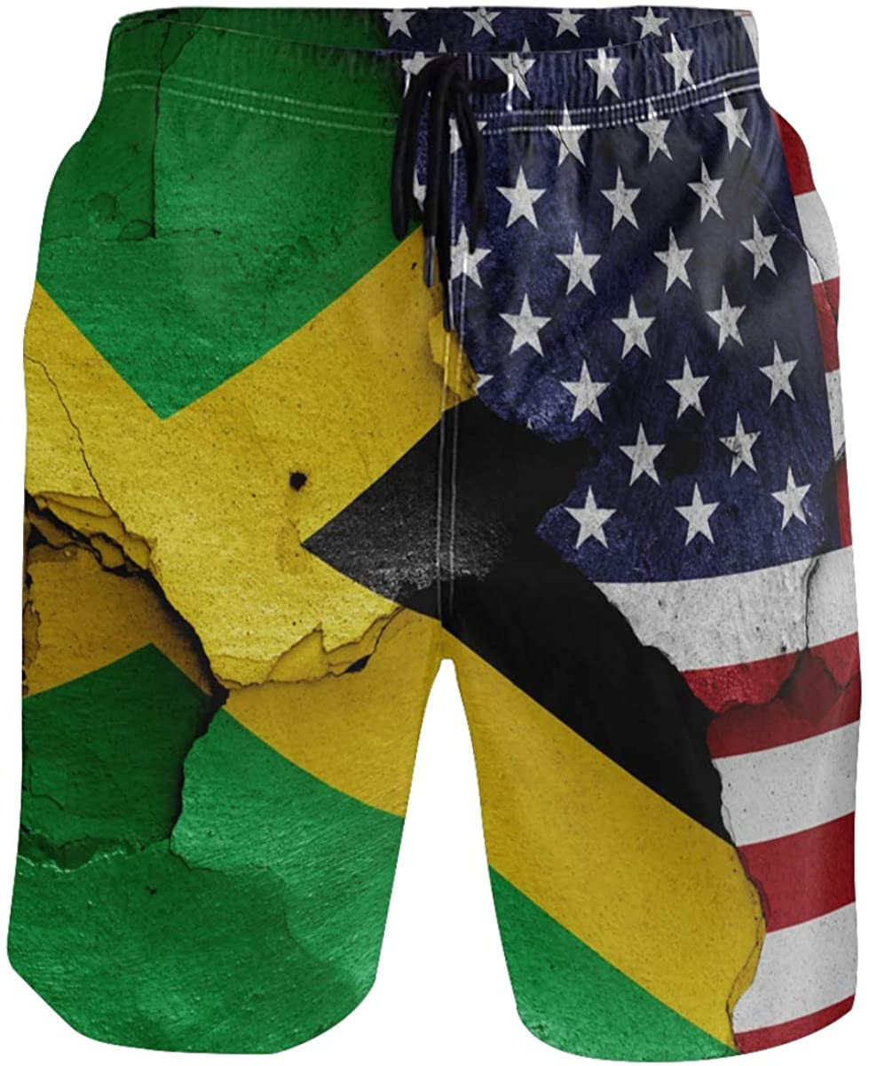 RunningBear Men's Swim Trunks - Flags of Jamaica and USA Beach Short Men Quick Dry Bathing Suit Shorts