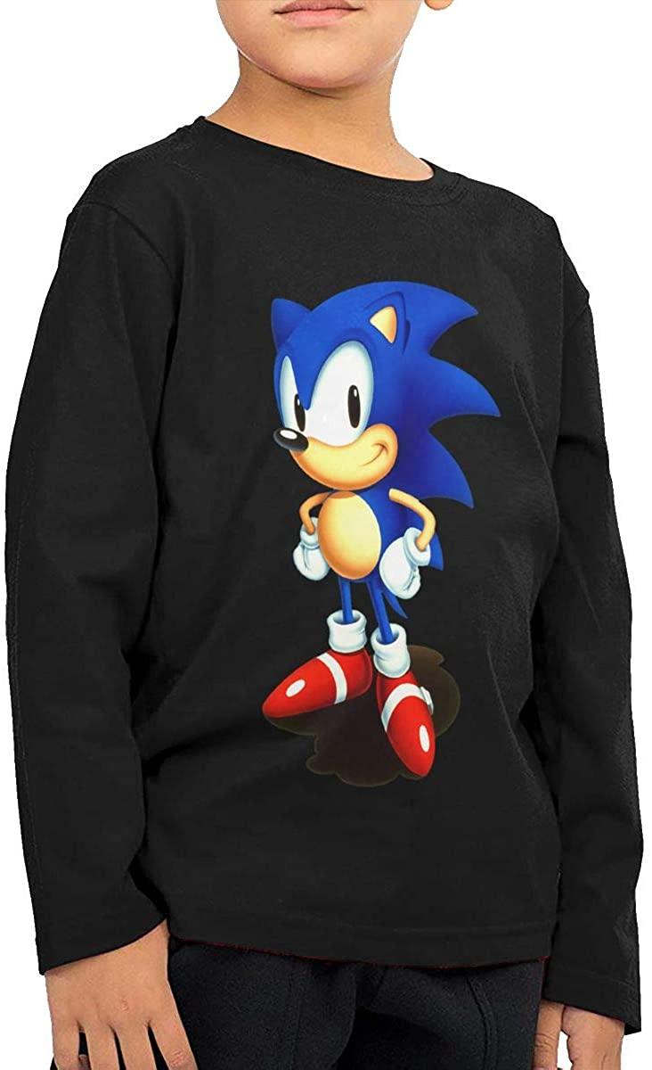 Vilisabull Sonic Hedgehog Boys' Long-Sleeved Sweatshirt, Round-Neck Top T-Shirt (2-6 Years Old),