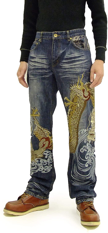 KARAKURI TAMASHII Men's Embroidered Jeans Japanese Dragon Tattoo Pants 293230