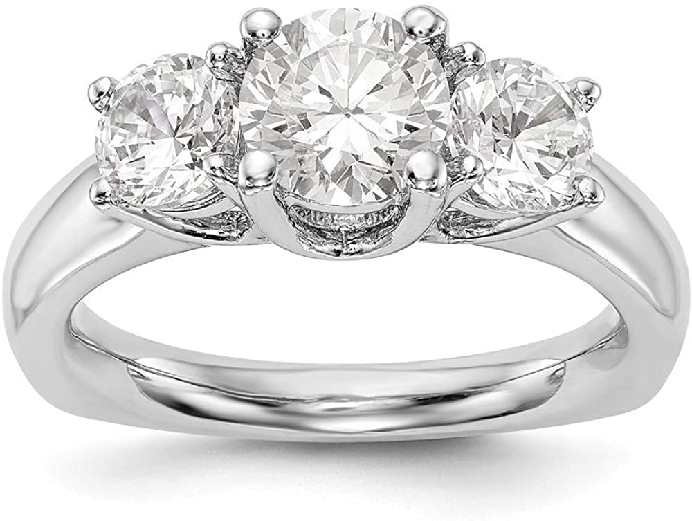 14K White Gold mounting Ring Band 3-Stone Engagement, Size 9