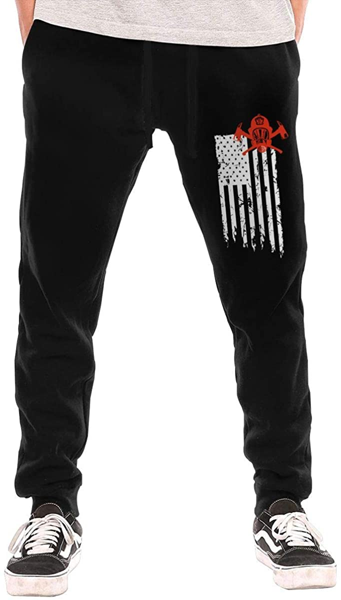 Firefighter Red Line Flag Men Jogger Sweatpants Sports Long Tights Pants