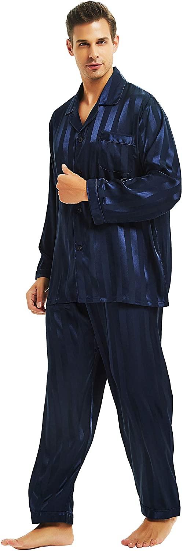 Lonxu Mens Satin Long Button-Down Pajamas Set, Stripped PJ, S~4XL