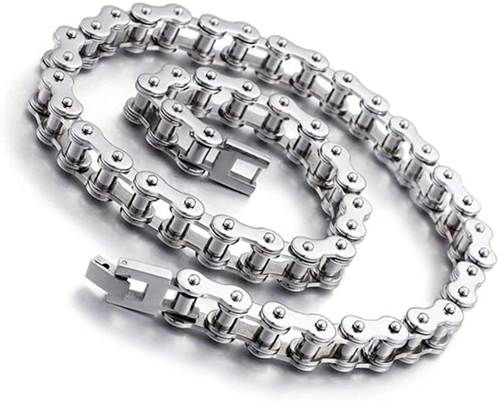 Qiaonitu 11mm Punk Bike Motorcycle Necklace Men 316L Stainless Steel Motor Bicycle Biker Chain Long Necklace Jewelry Silver 21.65-28inch