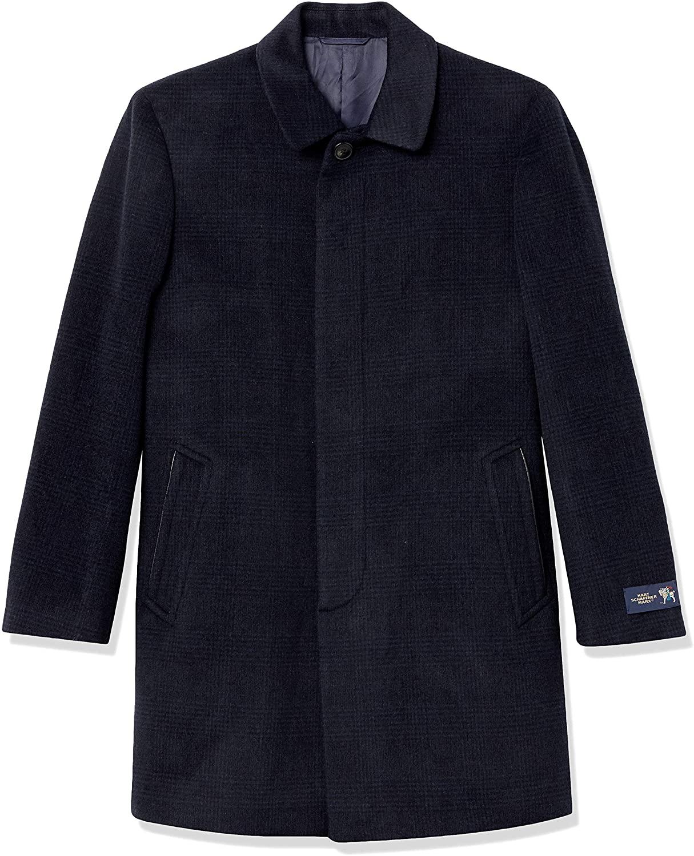 Hart Schaffner Marx Men's Ruskin Dress Wool Topcoat, Navy Plaid, 46L