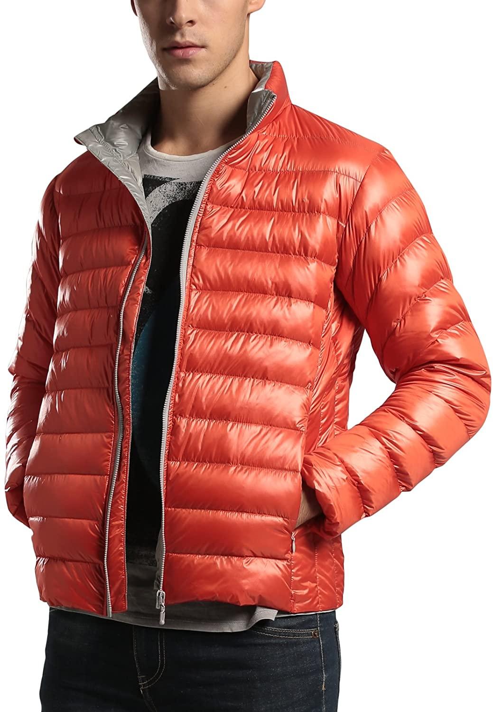 Men's Lightweight Stand Collar Packable Down Puffer Jacket