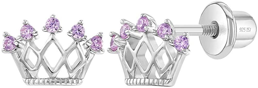 925 Sterling Silver CZ Princess Crown Screw Back Earrings for Little Girls & Preteens