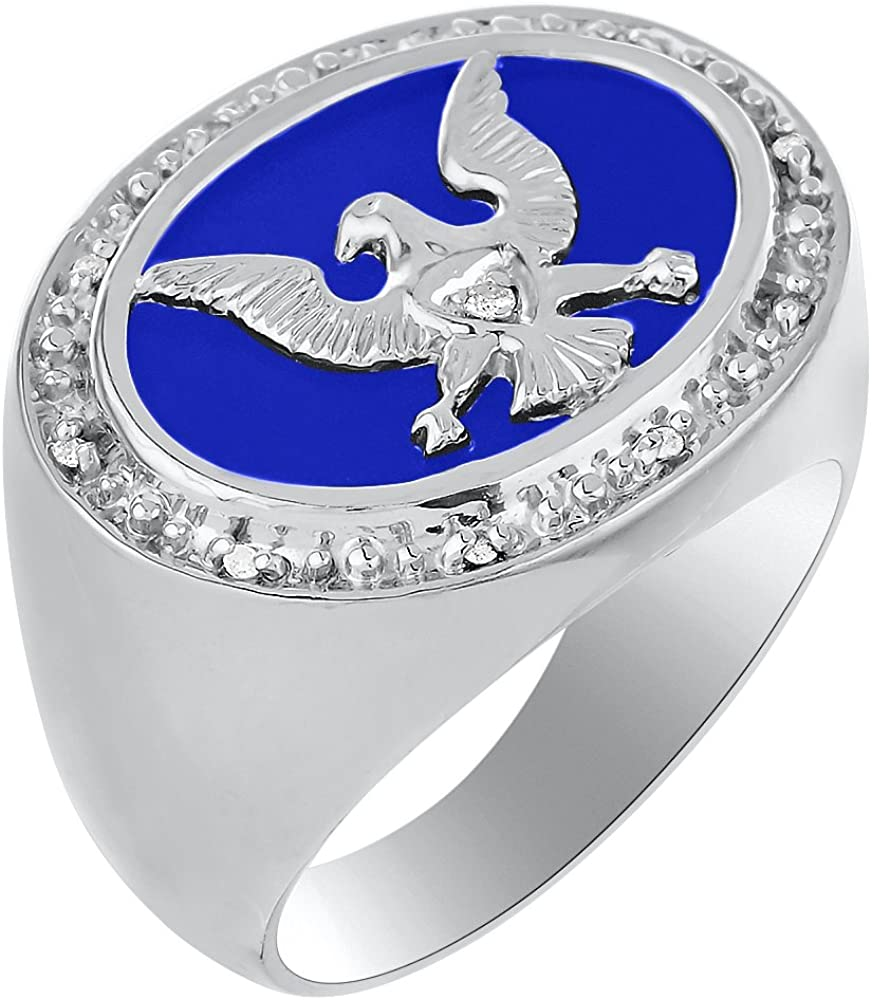 Diamond & Blue Onyx Quartz Ring Sterling Silver or Yellow Gold Plated Patriotic USA Eagle