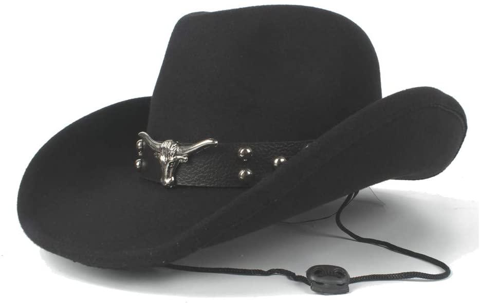 HONGkeke Hipster Winter Cowboy Hat Wool Cowboy Hat Western Gentleman Cowgirl Jazz Equestrian Dad Queen Tauren Punk Fedora Trilby Panama Hats Church Cap Fashion Elegant